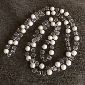 WHBM Pearl and Crystal Necklace